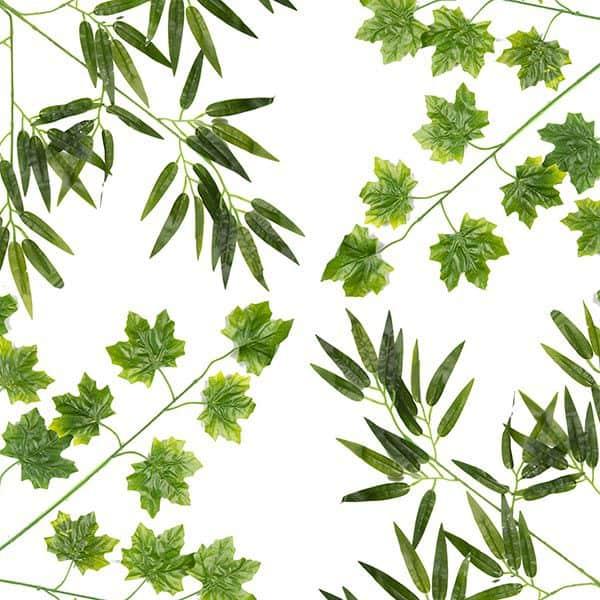 צמחים מלאכותיים וענפים ירוקים