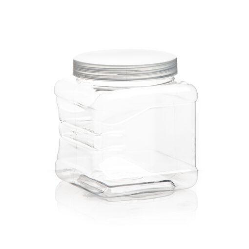 """צנצנת פלסטיק מרובעת ר.9.3 ג.10.5 ס""""מ ( 650 מיל)"""