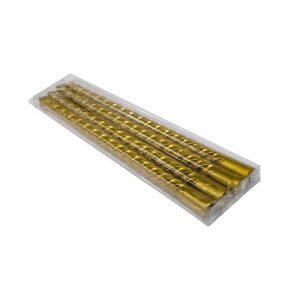 """חבילת 4 נר ספירלי 25 ס""""מ-זהב גליטר"""