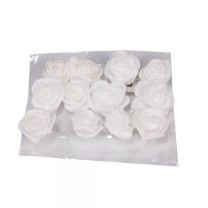 """חבילת 12 ראשי ורד פתוח ספוגי 4 ס""""מ-לבן"""