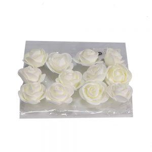 """חבילת 12 ראשי ורד פתוח ספוגי 4 ס""""מ-קרם"""