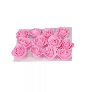 """חבילת 12 ראשי ורד פתוח ספוגי 4 ס""""מ-ורוד"""