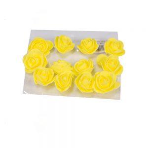 """חבילת 12 ראשי ורד פתוח ספוגי 4 ס""""מ-צהוב"""