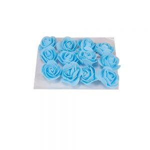 """חבילת 12 ראשי ורד פתוח ספוגי 4 ס""""מ-תכלת"""