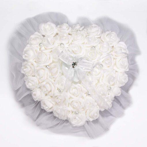"""קופסא לטבעות לב ורדים/פנינים 25 ס""""מ"""
