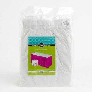 """חצאית פלסטי לשולחן ר.73 א.426 ס""""מ-לבן"""