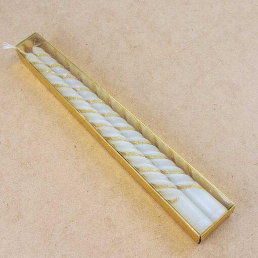 """חבילת 2 נרות ספירל א.30 ס""""מ -גליטר זהב"""