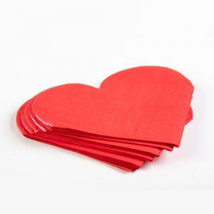 חבילת 20 מפיות נייר בצורת לב 2ש-אדום