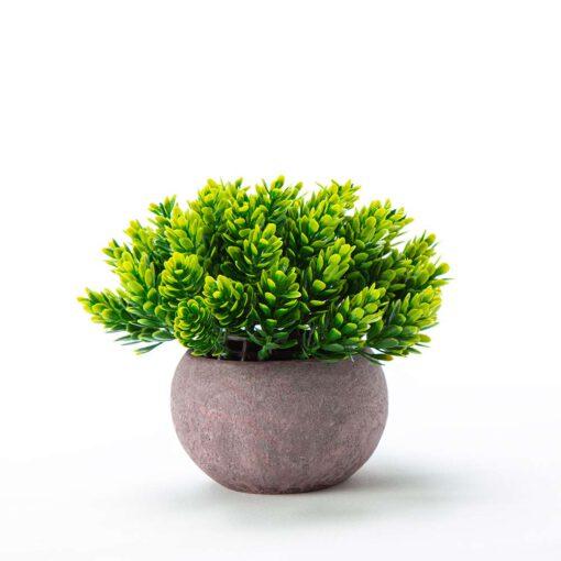 """שיח פרחים פלסטי בעציץ ג.14 ס""""מ-ירוק"""