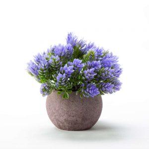 """שיח פרחים פלסטי בעציץ ג.14 ס""""מ-סגול"""