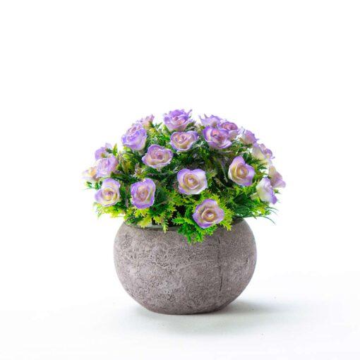 """שיח ורדים פלסטי כדורי בעציץ ג.12 ס""""מ-סגול"""