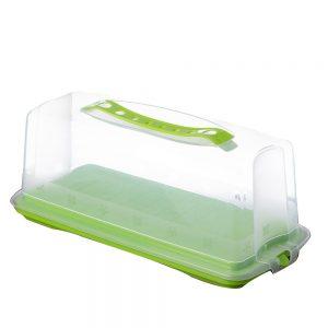 """קופסא פלסטי לאיגליש קייק 35/16/13.5 ס""""מ-ירוק"""