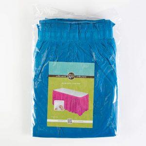 """חצאית פלסטי לשולחן ר.73 א.426 ס""""מ-כחול"""