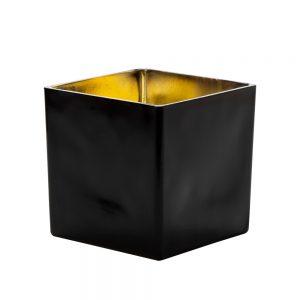 """וזה זכוכית מרובע 15/15 ס""""מ-זהב/שחור"""