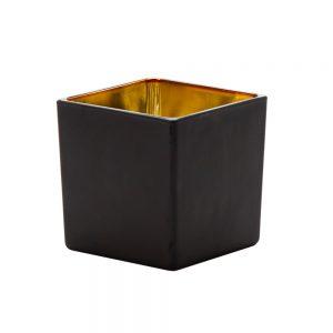 """וזה זכוכית מרובע 12/10 ס""""מ-זהב/שחור"""