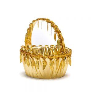 """סלסלה לחינה ק.17 ג.8 ס""""מ-זהב/עלים"""
