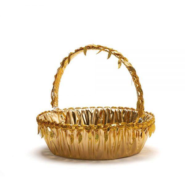 """סלסלה לחינה ק.32 ג.10 ס""""מ-זהב/עלים"""