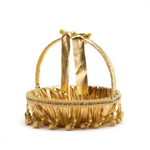 """סלסלה לחינה ק.32 ג.10 ס""""מ-זהב/פעמונים"""