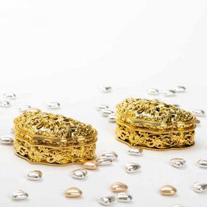 """קופסאת פלסטי אלדין 9/6.5/3.5 ס""""מ-זהב"""