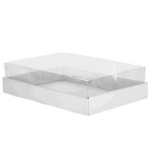 """קופסאת קרטון למארז עוגות - לבן מכסה פי וי סי 16/16/8 ס""""מ (מכסה נפרד)"""