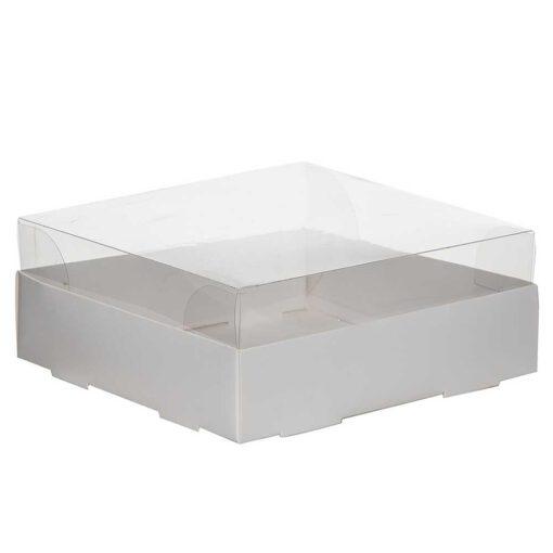 """קופסאת קרטון למארז עוגות - לבן מכסה פי וי סי 20/20/8 ס""""מ (מכסה נפרד)"""