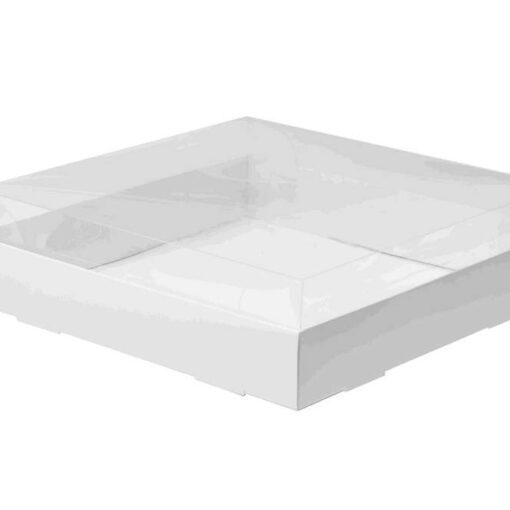"""קופסאת קרטון למארז עוגות - לבן- מכסה פי וי סי 28/28/8 ס""""מ (מכסה נפרד)"""