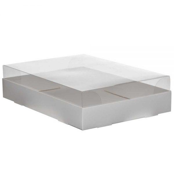 """קופסאת קרטון למארז עוגות - לבן מכסה פי וי סי 25/35/8.5 ס""""מ (מכסה נפרד)"""