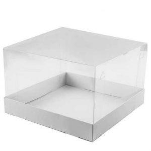 """קופסאת קרטון לבן מכסה פי וי סי 31/31/20 ס""""מ (מכסה נפרד)"""