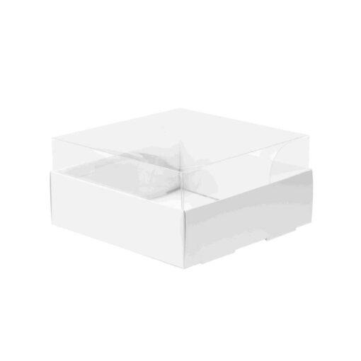 """קופסאת קרטון למארז עוגות - לבן מכסה פי וי סי 45/30/11.5 ס""""מ (מכסה נפרד)"""