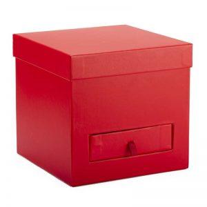 """קופסאת קרטון מרובע+פיויסי 20/20/19 ס""""מ+מגירה-אדום"""