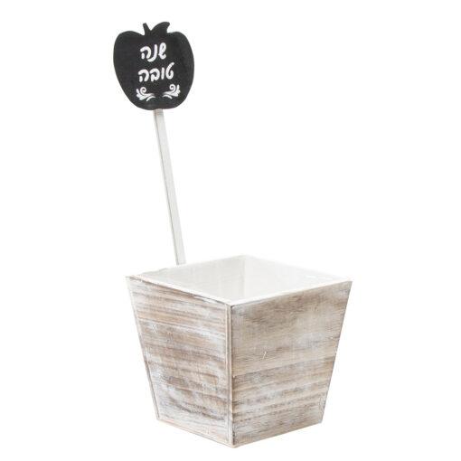 """כלי מרובע מעץ עם סטיק תפוח 16/16 ג.15 ס""""מ"""