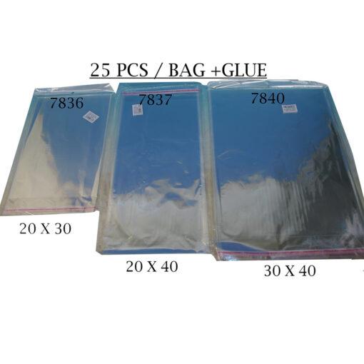 """חבילת 25 שקיות צלופן עם פס דבק - 20/40 ס""""מ"""
