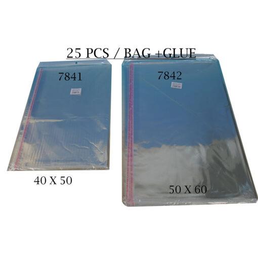 """חבילת 25 שקיות צלופן עם פס דבק - 50/60 ס""""מ"""