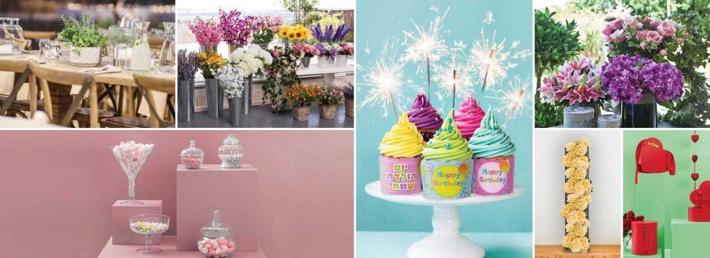 מוצרים לעיצוב אירועים מוצרי אריזה אריזות עיצוב שולחן כלים מחומרים שונים פרחי משי מוצרים לעוגה ואפייה צמחיה מלאכותית