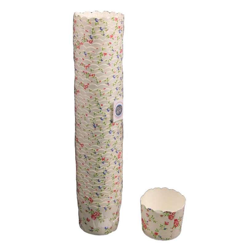 """חבילת 50 עטרות קרטון לאפיה 7/5.5 ס""""מ-פרחוני"""