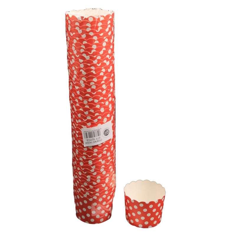 """חבילת 50 עטרות קרטון לאפיה 7/5.5 ס""""מ-אדום מנוקד"""