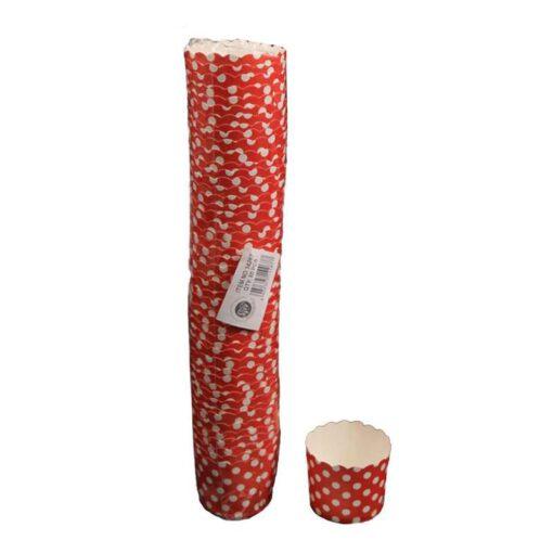 """חבילת 50 עטרות קרטון לאפיה 6/4.6 ס""""מ-אדום מנוקד"""