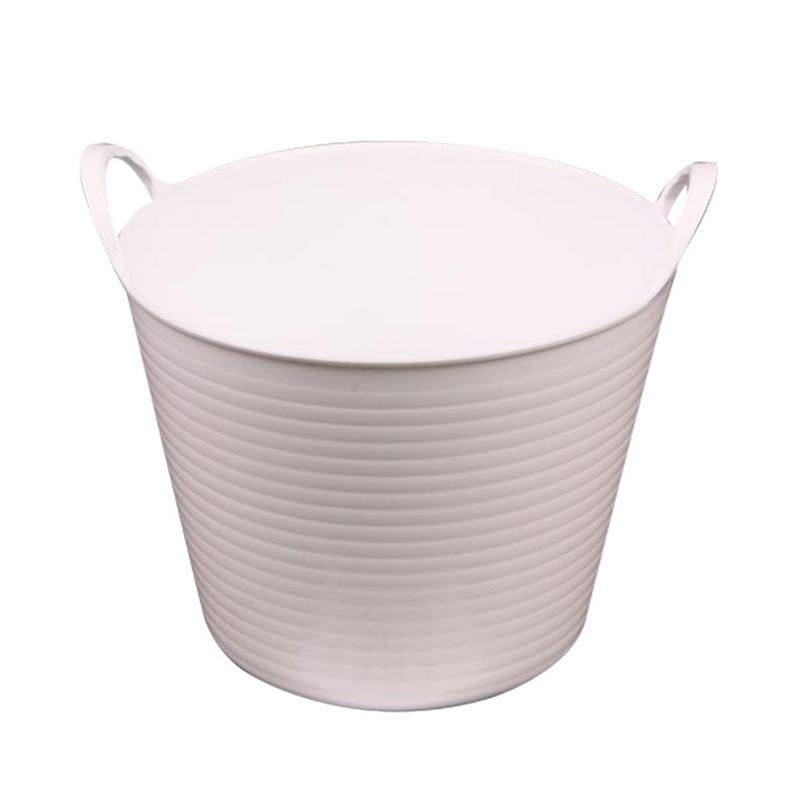 """דלי פלסטיק 2 ידיות ק.14.5 ג.11.5 ס""""מ-לבן"""