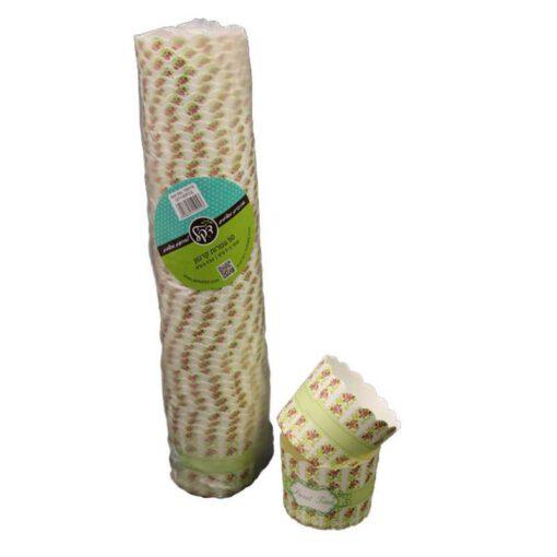 """חבילת 50 עטרות קרטון לאפיה 7/5.5 ס""""מ-פירחוני ירוק"""