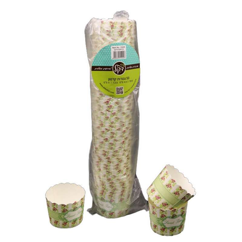 """חבילת 50 עטרות קרטון לאפיה 6/4.6 ס""""מ-פירחוני ירוק"""