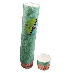 """חבילת 50 עטרות קרטון לאפיה 7/5.5 ס""""מ-פרחוני ורוד/ירוק"""