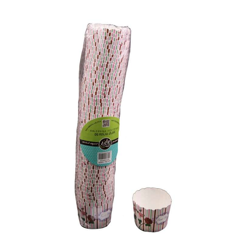 """חבילת 50 עטרות קרטון לאפיה 6/4.6 ס""""מ-פרחוני פסים"""