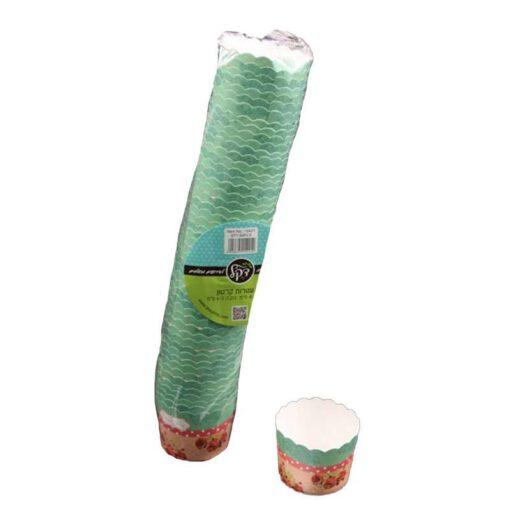 """חבילת 50 עטרות קרטון לאפיה 6/4.6 ס""""מ-פרחוני ורוד/ירוק"""