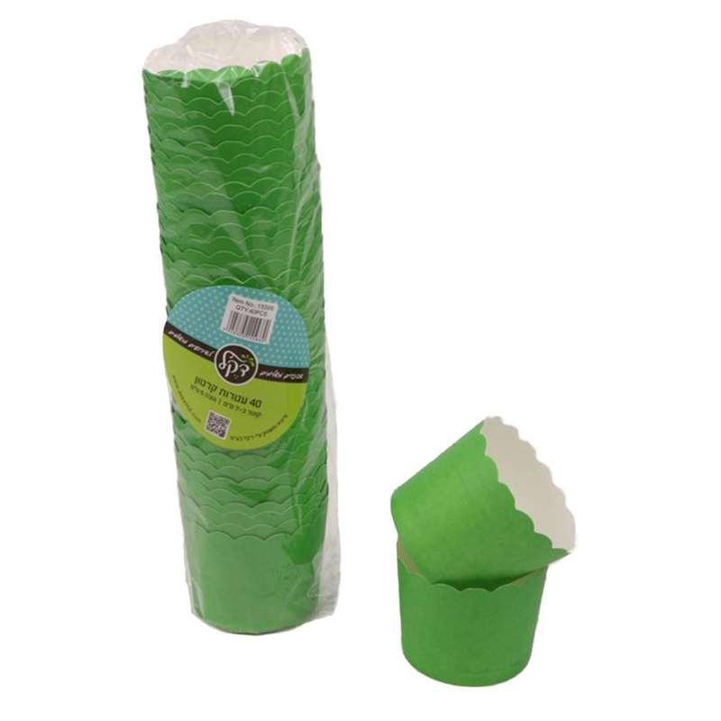 """חבילת 40 עטרות קרטון לאפיה 7/5.5 ס""""מ-ירוק"""