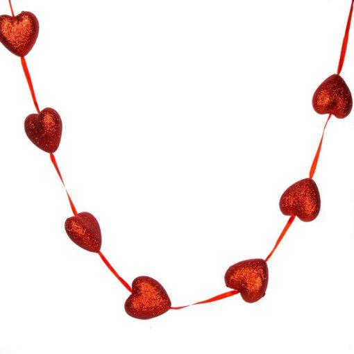 """שרשרת לבבות  קלקר א.1.8 ס""""מ-אדום גליטר"""