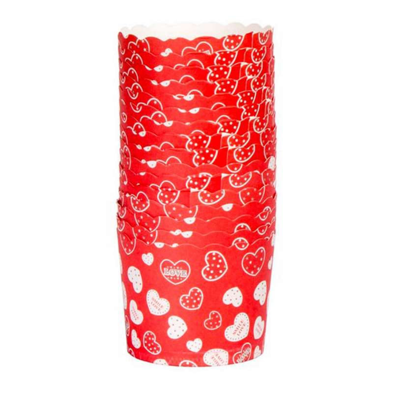 """חבילת 50 עטרות קרטון לאפיה 7/5.5 ס""""מ-אדום/לבבות"""