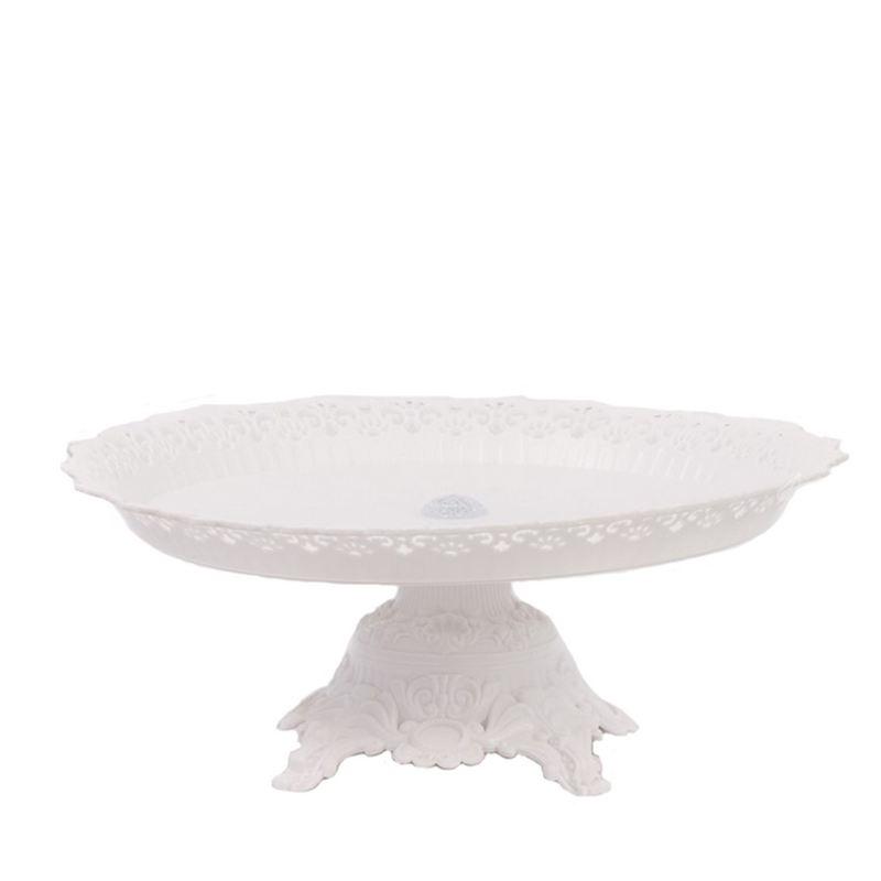 """צלחת פלסטי לעוגה על רגל ק.34 ג.14 ס""""מ-לבן"""
