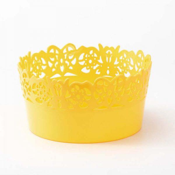 """קערה פלסטי עגול- פרחים ק.18.5 ג.9 ס""""מ.-צהוב"""