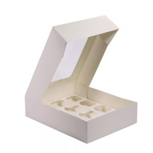 """קופסאת קרטון ל12 קאפקייקס 33.5/25.5/7.8 ס""""מ- לבן"""