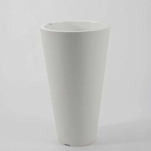 """עציץ פלסטי עגול ק.34.5 ג.59 ס""""מ-לבן"""
